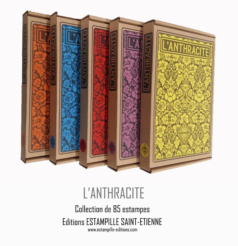 Editions ESTAMPILLE Saint-Etienne Dessin et couleurs bleu et noir